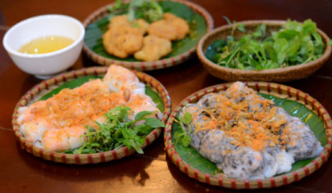 The squid steam rice rolls in Quang Ninh