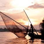 Fishing boat Mekong river Sunset