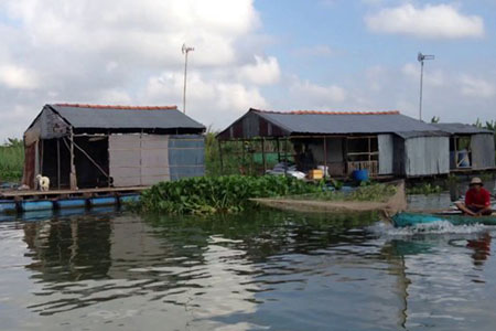 Floating fish farms, Binh Thanh Island