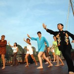 Tai Chi class on sundeck in Halong Bay